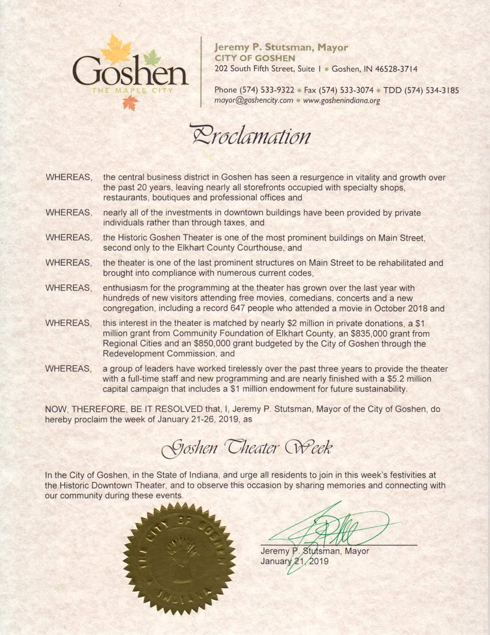 Goshen Theater Week - Proclamation by the Mayor